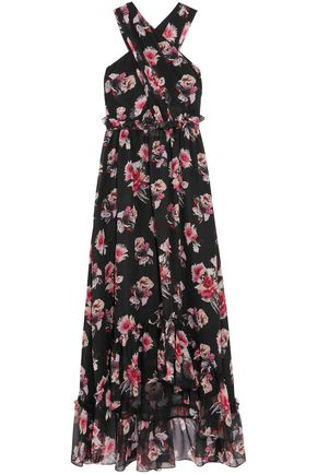 MSGM Ruffled crossover floral-print silk-georgette maxi dress