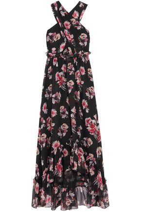 MSGM Ruffled crossover floral-print silk-georgette maxi dress