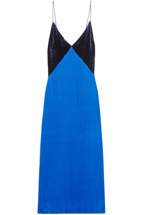 DION LEE Two-tone open-back velvet midi dress