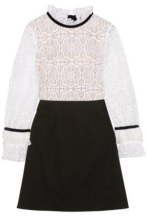 SEA Velvet-trimmed cutout lace and stretch-poplin mini dress