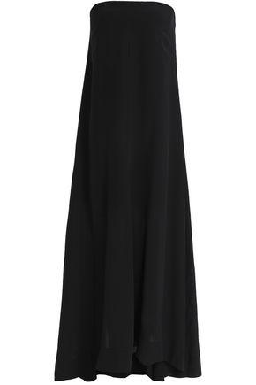 THEORY Strapless fluted silk crepe de chine maxi dress
