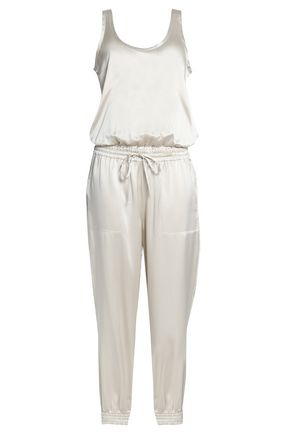 THEORY Gathered silk-satin jumpsuit