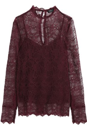 THEORY Grosgrain-trimmed corded lace blouse