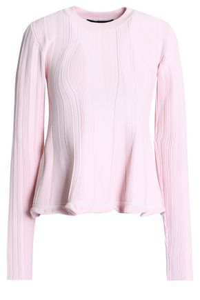 PROENZA SCHOULER Ribbed stretch-knit peplum sweater