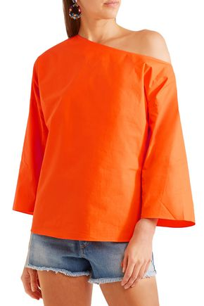TIBI One-shoulder ruched cotton-poplin top