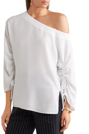 TIBI Lace-up one-shoulder crepe top