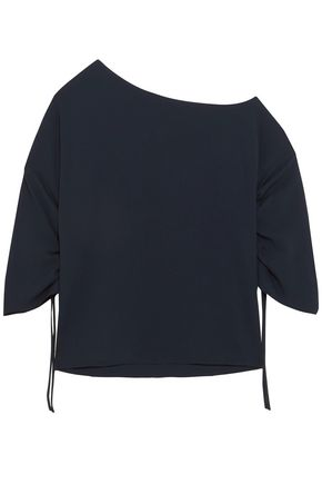 TIBI One-shoulder ruched crepe top