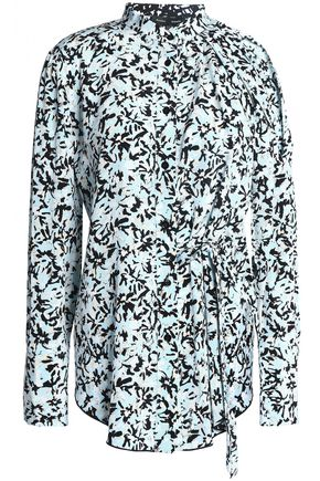 PROENZA SCHOULER Cutout printed crepe de chine blouse