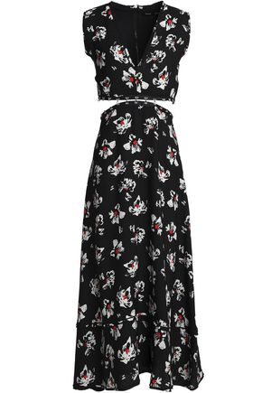 PROENZA SCHOULER Embellished cutout floral-print crepe midi dress