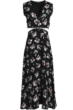 PROENZA SCHOULER Cutout floral-print crepe midi dress