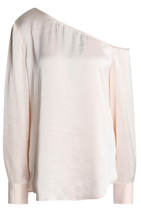 THEORY One-shoulder satin blouse