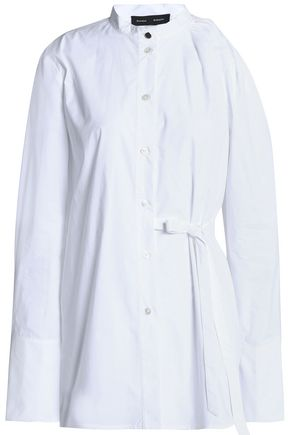 PROENZA SCHOULER Cutout gathered cotton-poplin shirt