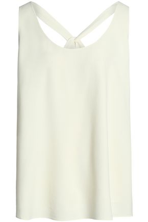 THEORY Bow-detailed crepe top