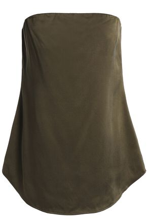 THEORY Strapless silk-satin top