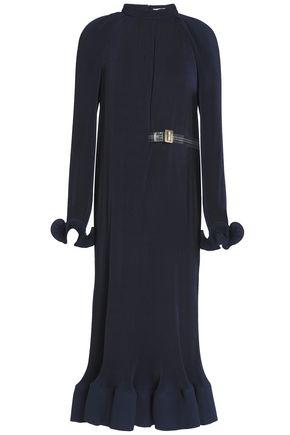 TIBI Fluted plissé-crepe de chine midi dress