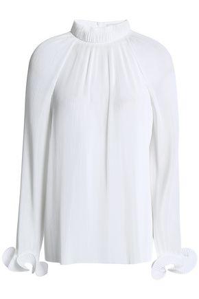 TIBI Fluted plissé-crepe de chine blouse