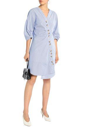 TIBI Asymmetric striped cotton-poplin shirt dress