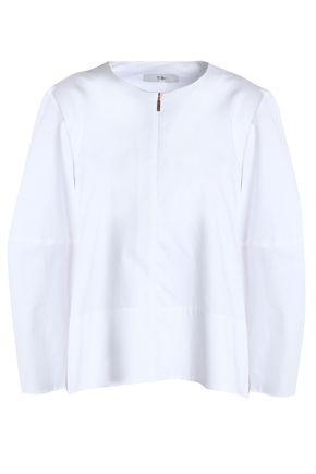 TIBI Gathered cotton-poplin blouse
