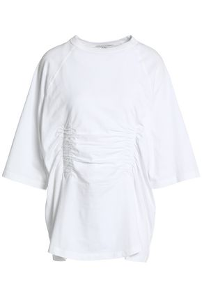 TIBI Ruched cotton-jersey T-shirt