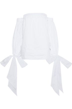 MILLY Alba off-the-shoulder cotton-poplin top