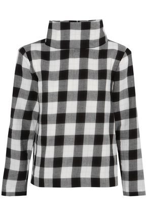 TIBI Checked cotton-blend turtleneck top