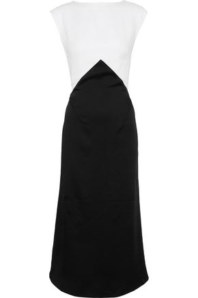 TOME Two-tone crepe midi dress