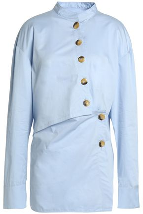 TIBI Button-detailed cotton-poplin shirt