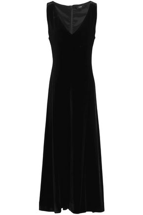 THEORY Fluted velvet midi dress