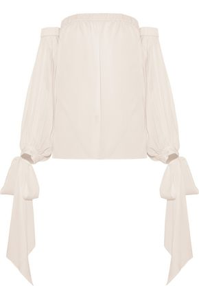 MILLY Alba off-the-shoulder silk-blend top