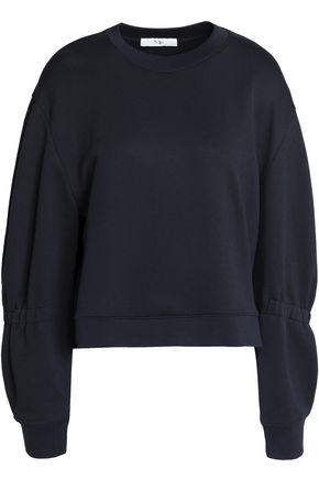TIBI Shirred French terry sweatshirt
