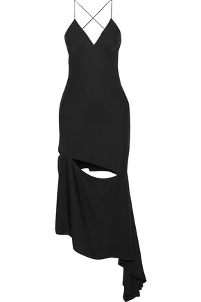 MILLY Fractured Bias asymmetric cutout stretch-silk slip dress