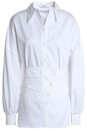 TIBI Belted cotton-poplin shirt