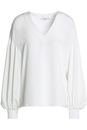 TIBI Gathered silk crepe de chine blouse