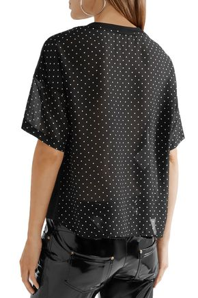 BOUTIQUE MOSCHINO Polka-dot chiffon and cotton-jersey T-shirt