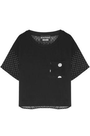 BOUTIQUE MOSCHINO ポルカドット シフォン&コットンジャージー Tシャツ