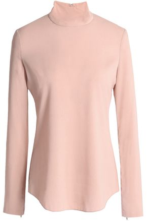 THEORY Silk-blend crepe turtleneck top