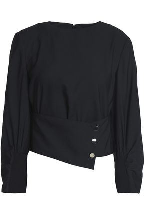 TIBI Belted crepe blouse