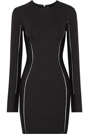 DION LEE Open knit-trimmed jersey mini dress