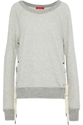 n:PHILANTROPY Felix lace-up mélange cotton-blend jersey sweatshirt
