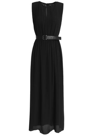 THEORY Belted pleated silk-crepe midi dress