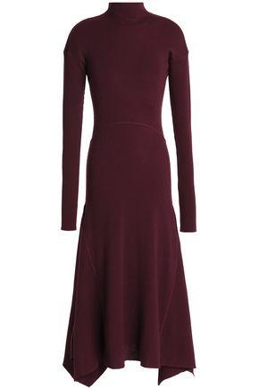 THEORY Asymmetric ribbed wool-blend turtleneck midi dress