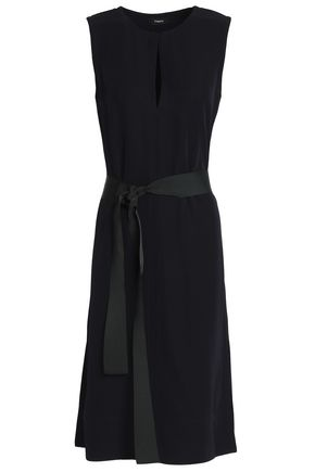 THEORY Grosgrain-trimmed belted crepe dress