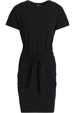 THEORY Tie-front stretch cotton and modal-blend mini dress
