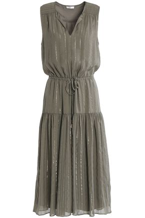 JOIE Lamé-trimmed silk-blend georgette dress