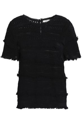 JOIE Fringed crocheted cotton top
