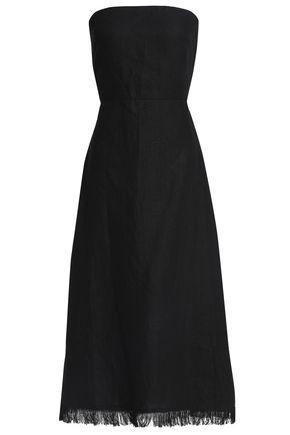 THEORY Fringed cutout linen midi dress