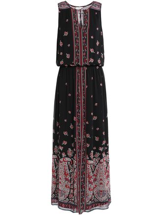 JOIE Printed silk crepe de chine midi dress