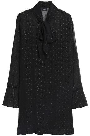 THEORY Pussy-bow metallic fil coupé silk-blend mini dress