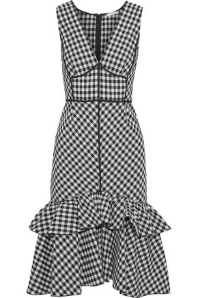 TOME Ruffle-trimmed gingham flannel dress