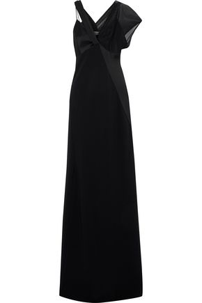 DIANE VON FURSTENBERG Asymmetric knotted satin and tulle gown